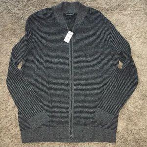 NWT gray striped Express zip cardigan size XL